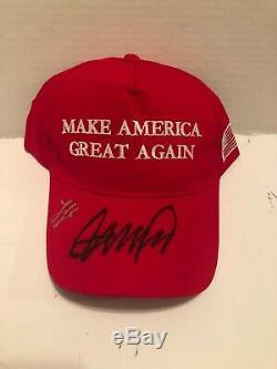 Signé Ivanka Et Donald Trump Potus Président Maga Hat Autographes Authentiques
