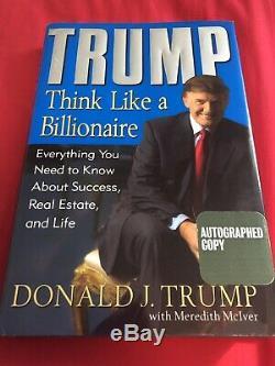 Signe Rare Book President Atout Donald Pensez Comme Un Milliardaire, Première Édition