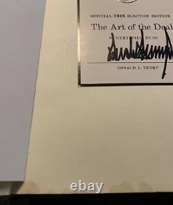 Signé Scarce Président De L'édition Électorale Certifiée Donald Trump, Art Of The Deal