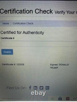 Signed Ball, Le Président Américain Donald J. Trump Dédicacé, Signé Baseball Avec Coa