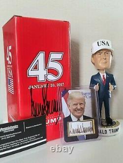 Signée À La Main-donald Trump, Autographié Inauguration Bobblehead Avec Bonus Coa +