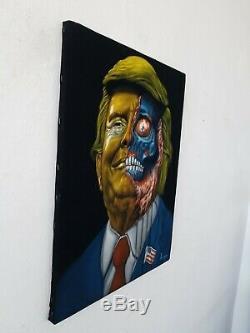 Zombie Obey Donald Trump Ils Film Original En Direct Peinture À L'huile Noire A387 Velours